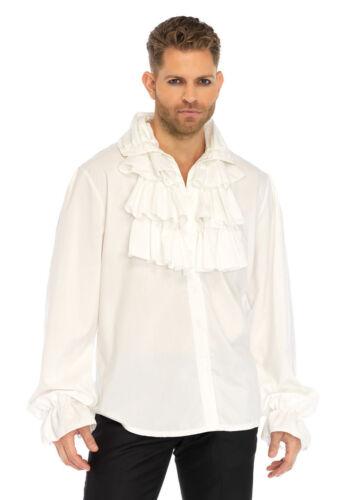 WHITE 86688 LARGE Leg Avenue Men/'s Renaissance Ruffle Front Pirate Shirt
