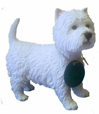 West Highland Terrier in Blue Jacket Miniature Ceramic Hand Painted Dog Figurine