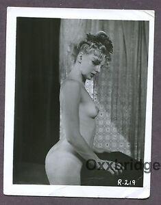 Cute Blonde Great Body Pointy Nipples 1950 Original Nude Pinup Photo B3629