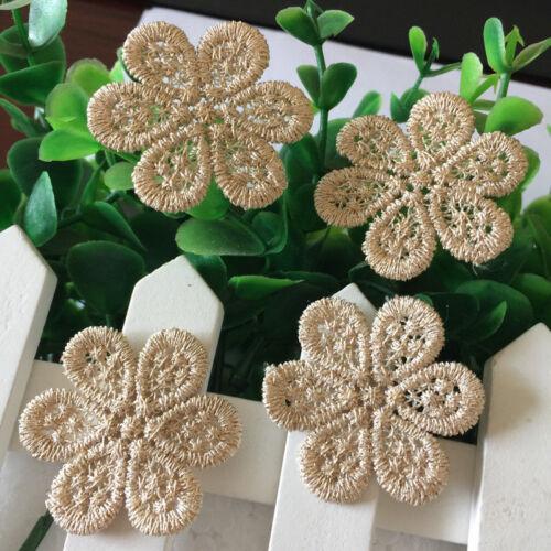 10PCS Tissu Venise bordées de dentelle or fleur en dentelle Appliques Trim Sewing Craft A22