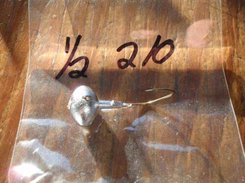 25 1//2oz Football Head Jigs w Bronze Sickle Hooks 1//0 2//0 3//0 or 4//0 You Choose