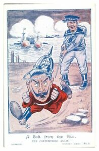 Antique-WW1-military-printed-postcard-A-Bolt-From-The-Blue-The-Contemtible-Again