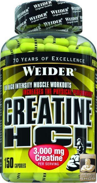 + Bonus + Weider Creatine HCL Dose mit 150 Kapseln (216 g) (18,14 EUR/100 g)