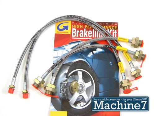 Classic VW Beetle Brake Hose Set Stainless Braided PTFE Bug K.Ghia 64 Goodridge