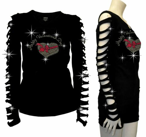 New Happy Valentine/'s Day Bling Bling Rhinestone T-Shirt,Ripped Cut Out S to 4XL