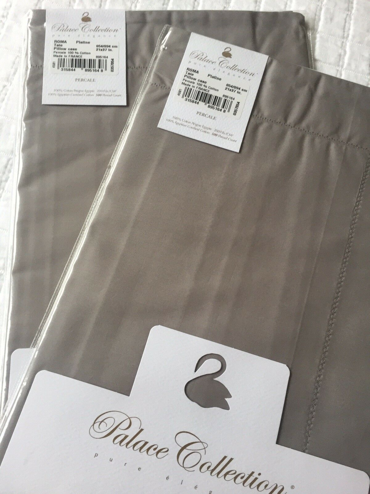 Yves Delorme ROMA PLATINE PAIR OF KING Pillowcases PALACE COLLECTION LUXURY