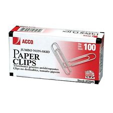 Acco Paper Clips Jumbo Non Skid 100 Count 10 Pack New 2pk