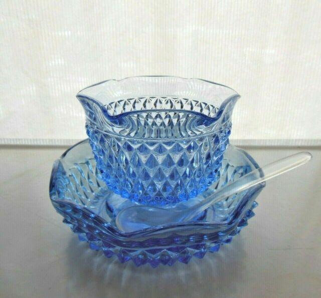 Indiana Glass Ice Blue Diamond Point 3 piece Mayonnaise Sauce Bowl Serving Set