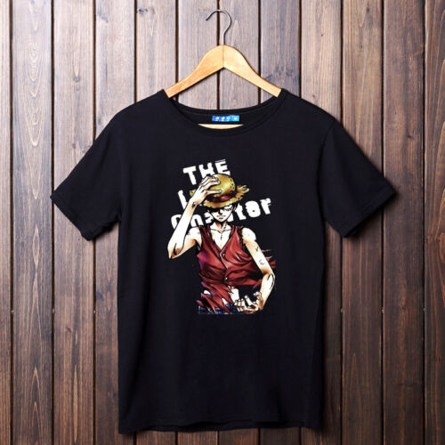 Anime One Piece Straw Hat Pirates Captain Luffy Cotton T-Shirt Tees Casual Tops