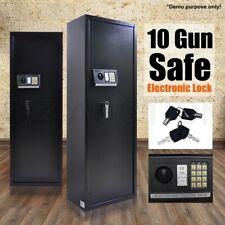 10 Rifle Storage Gun Safe Firearm Security Lockbox Steel Cabinet Heavy Duty