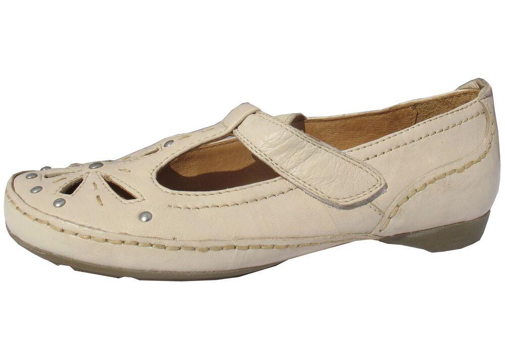 Capable Mesdames Cuir Crème Doux Flexible Plat Chaussures T-bar Semelle Moulée Confort Neuf Aussi Efficacement Qu'Une FéE