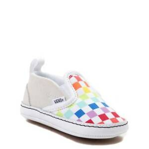 1227812049d NEW Crib Vans Slip On V Rainbow Chex Skate Shoe Checker Baby