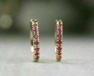 1Ct-Round-Cut-Red-Ruby-Hoop-Huggie-Earrings-14K-Yellow-Gold-Finish-Women-039-s