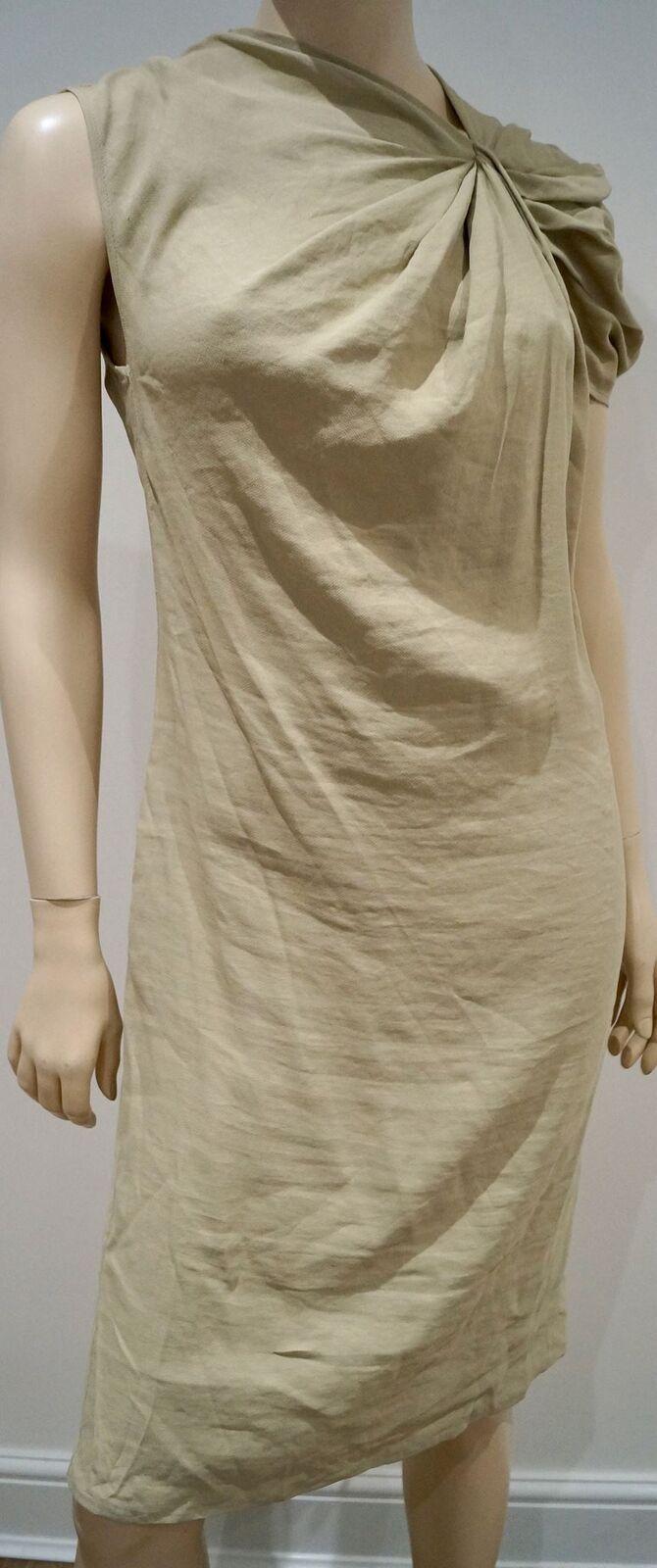 LANVIN ETE 2010 Beige Linen Blend Pleated Shoulder Summer Tunic Dress 44 UK16