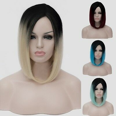 Womens Black Root Harajuku Style Wig Ombre Colorful Hair Short Straight Bob Wig