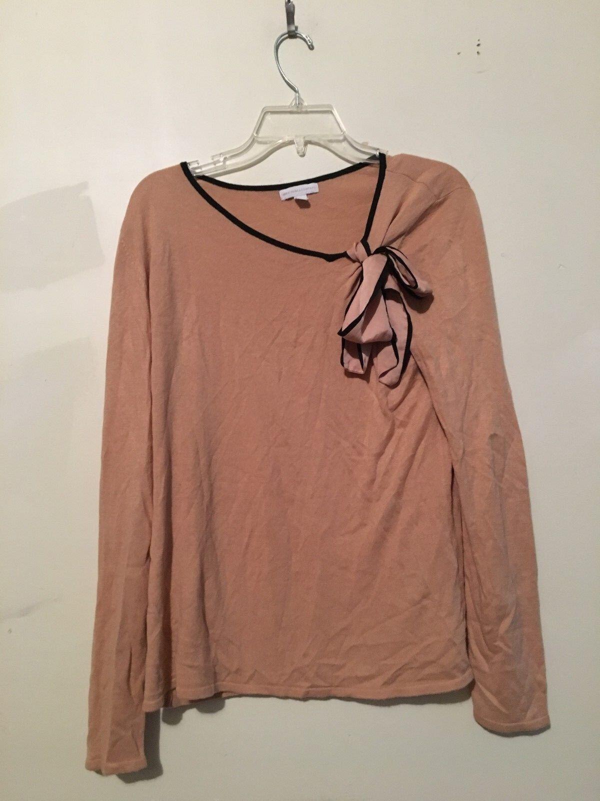 NEW YORK & COMPANY 100% Acrylic Beige Brown Stylish Sweater Blouse Size XL