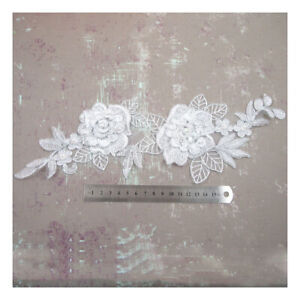 WHITE-LACE-APPLIQUES-340mm-x-120mm-WITH-SILVER-EDGE-PEARL-SEQUINS-BRIDAL-H5086