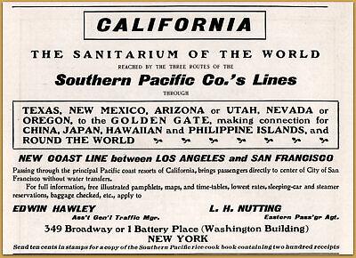 Advertising-print 1901 D Southern Pacific Railroad California Sanitarium Of The World Print Ad
