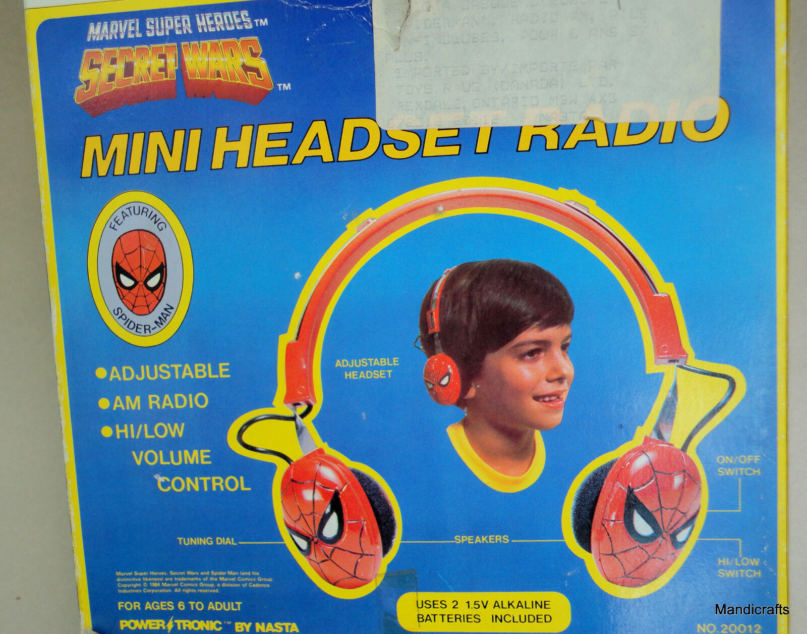 Marvel Spiderman Mini Headset AM Radio 1984 Super Heroes Boxed Unused Nasta HK
