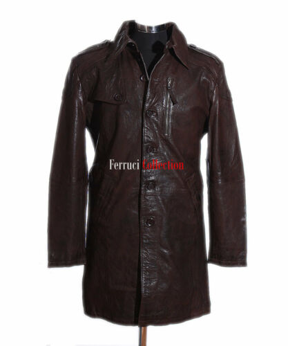 Brown Lambskin Jacket Knee Overcoat Length Mac Trench Coat Leather Victor Men's 9I2DHE
