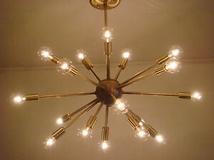 "SPUTNIK LIGHT FIXTURE CHANDELIER SATIN BRUSHED BRASS 24"" 18 ARMS MADE IN U.S.A."