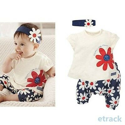 Baby Girls Flower Headband+Tops+Pants Shorts Outfits 3pcs Set Clothes 0-3 Year