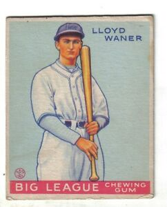 Details About 1933 Goudey Baseball Card 164 Lloyd Waner Pittsburgh Pirates Vgex