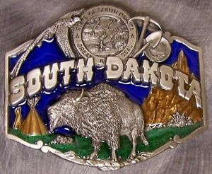 Pewter-Belt-Buckle-State-of-South-Dakota-colored-NEW