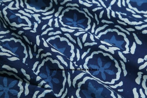 By Yard Indian Hand block Print Running Loose Cotton Fabrics Blue Printed Decor