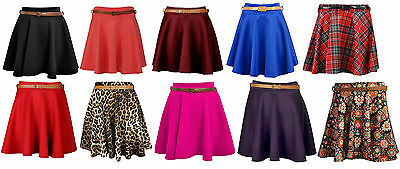 Brillant New Womens Flared Mini Party Skater Pleated Free Belt Girls Style Skirt Sizexs-l