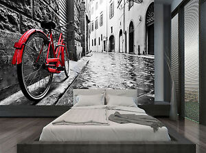 Perfect Image Is Loading Red Bicycle Black White Town City Wall Mural  Part 21