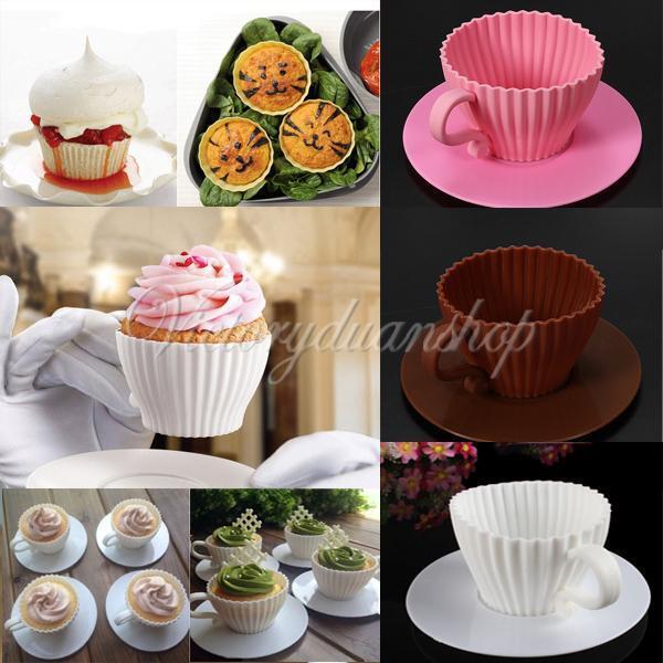4x Muffinförmchen Backform Set Kuchenform Cupcake Tassenform Untersetzer Silikon