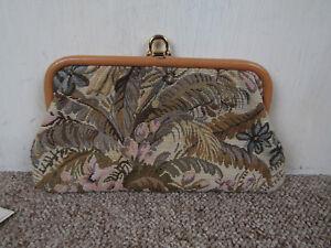 Small-Vintage-C-amp-A-Tapestry-Clutch-Bag-Handbag-Beige-Brown