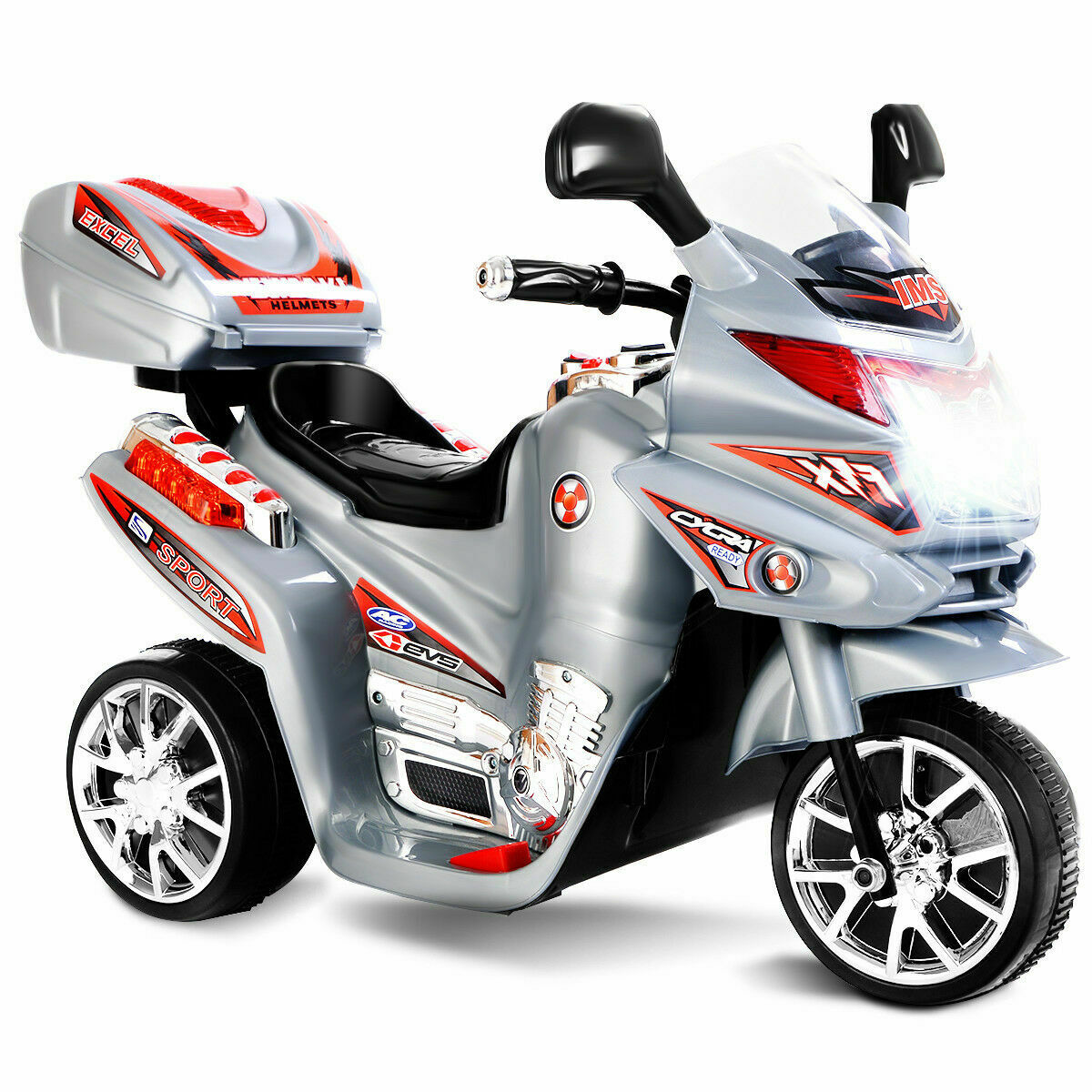 Kids Ride On Motorcycle 3 Wheel 6V Battery Powered Electric Toy Power Bicycle
