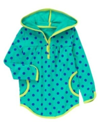GYMBOREE COLOR HAPPY TURQUOISE POLKA DOTS HOODED L//S TOP 4 5 6 7 8 12 NWT