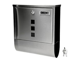 Design Edelstahl Briefkasten Postkasten Metall Mit Zeitungsfach Und