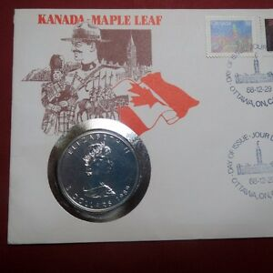 CANADA-1989-MAPLE-LEAF-QUEEN-ELIZABETH-II-1-Oz-SILVER-COIN-in-CANADA-POSTCARD