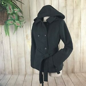 Celebrity Pink Junior Charcoal Wool Double-Breast Hooded Pea-Coat Sz XS S XL