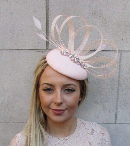 Blush Light Pink Rose Gold Felt Feather Pillbox Hat Races Ascot Fascinator 5177