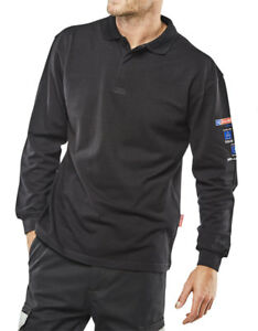 7dd23e079976 Click Arc Fire Flame Retardant Navy Blue Polo Shirt Long Sleeve Anti ...