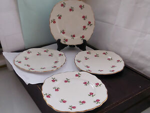 FOUR-COLCLOUGH-CHINA-SIDE-PLATES-WITH-A-SMALL-RED-ROSE-PATTERN
