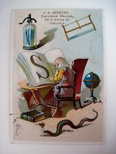 J.S Jenkins Alphabet Victorian Trade Card for Letter S w/ Snake, Saw & Seltzer *