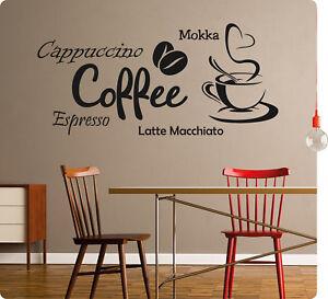 Kaffee Coffee Wandaufkleber Aufkleber Küche Sticker Wandtattoo Tattoo Kleber 22 StäRkung Von Sehnen Und Knochen Türschilder Außen- & Türdekoration
