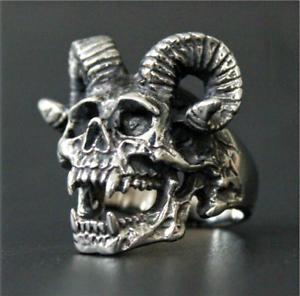 Devil ram horn vampire satanic goat skull Aries Zodiac stainless steel punk ring