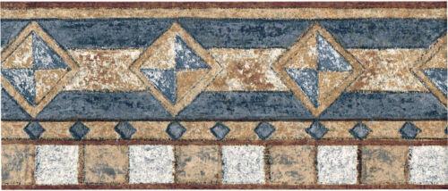 Blue Brown Speckled Diamond Mosaic Tile Square Geometric Modern Wallpaper Border