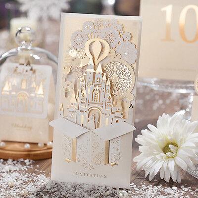 Gold Pocket Wedding Invitation Card CW5093 with Castle Design, Envelope, Seal