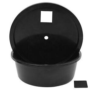 Round Circular Reservoir Lid Water Feature Fountain Plastic Black Bucket