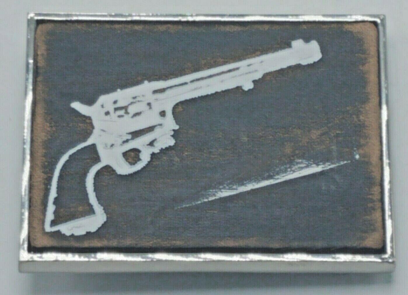 Vintage Silberfarben & Bemalt Kunst Holz Revolver Pistole Gürtelschnalle