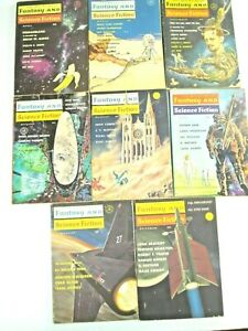 Vintage 8 Issue Lot Magazine of Fantasy and Science Fiction
