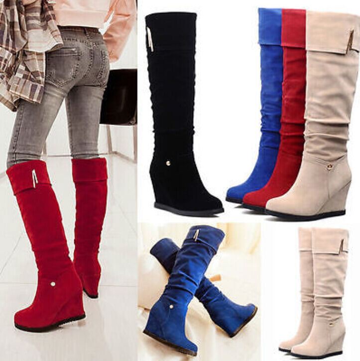 Prom Womens Platform Wedge Heels Faux Suede Riding Knee High Boots Pull On shoes